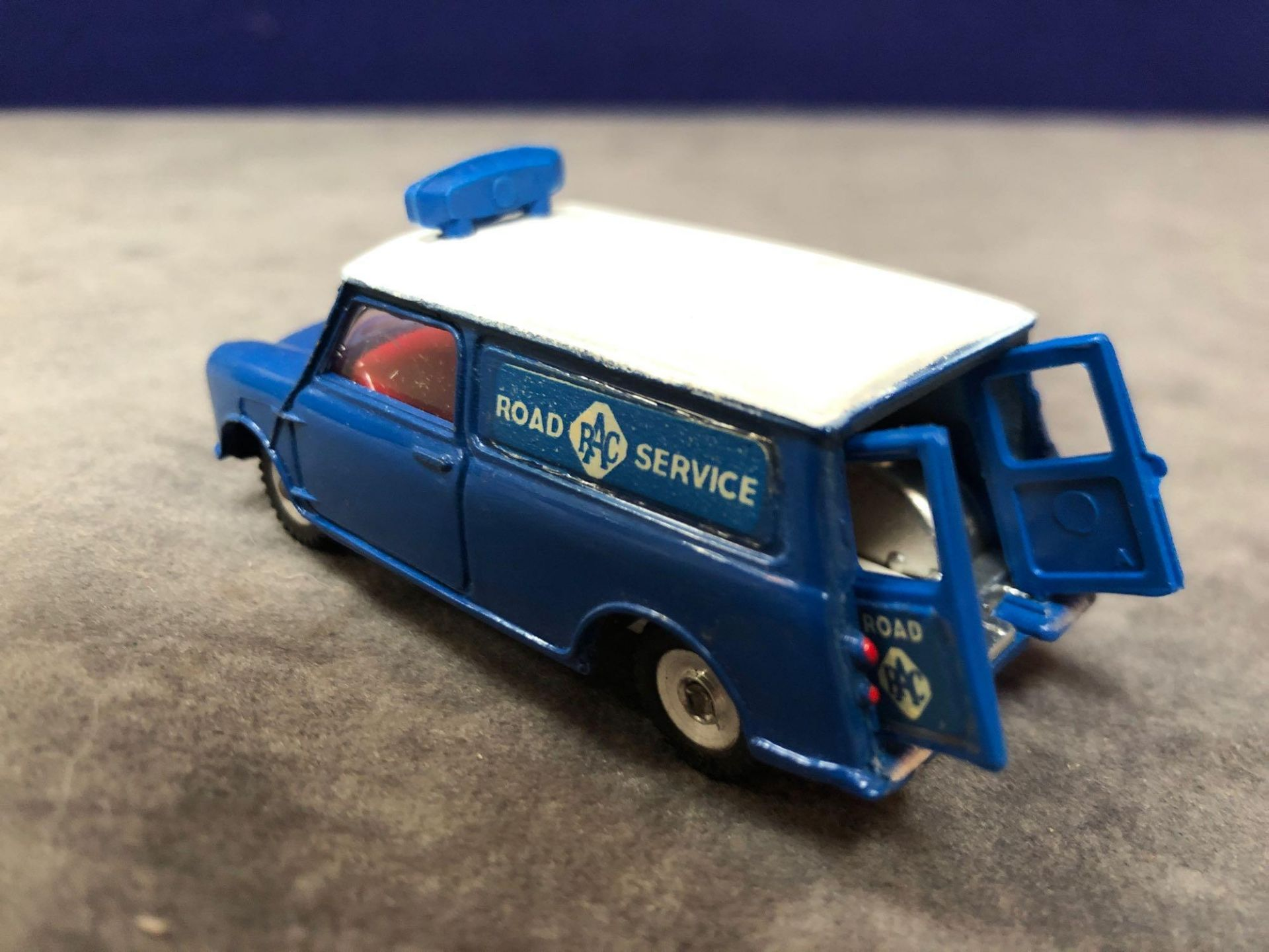 Dinky #273 RAC Patrol Mini Van Blue/White - Red Interior. Virtually Mint Mark On Roof In Excellent - Image 3 of 4