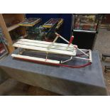Vintage Wooden Sledge with steering wheel and brake and metal Runners 330 (W) x 1090 (L) x 230mm (