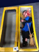 Vintage Pelham Puppets Marionette Witch (Yellow Hair) In Damaged Box