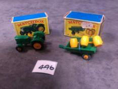 2 X Matchbox Diecast Vehicles Comprising Of #Matchbox 50b John Deere Lanz 700 In Excellent Box #