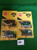 4x EFSI Toys (Holland) Diecast Scale Model Of T-Ford 1919 Comprising Of; #6012, #150, #6007 & #MT14.