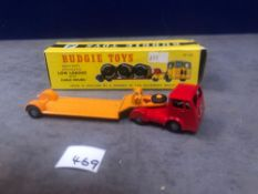 Budgie Toys No.232 Low Loader Issued 1959-66 Length 167mm (cable drums missing) Mint In Firm Box