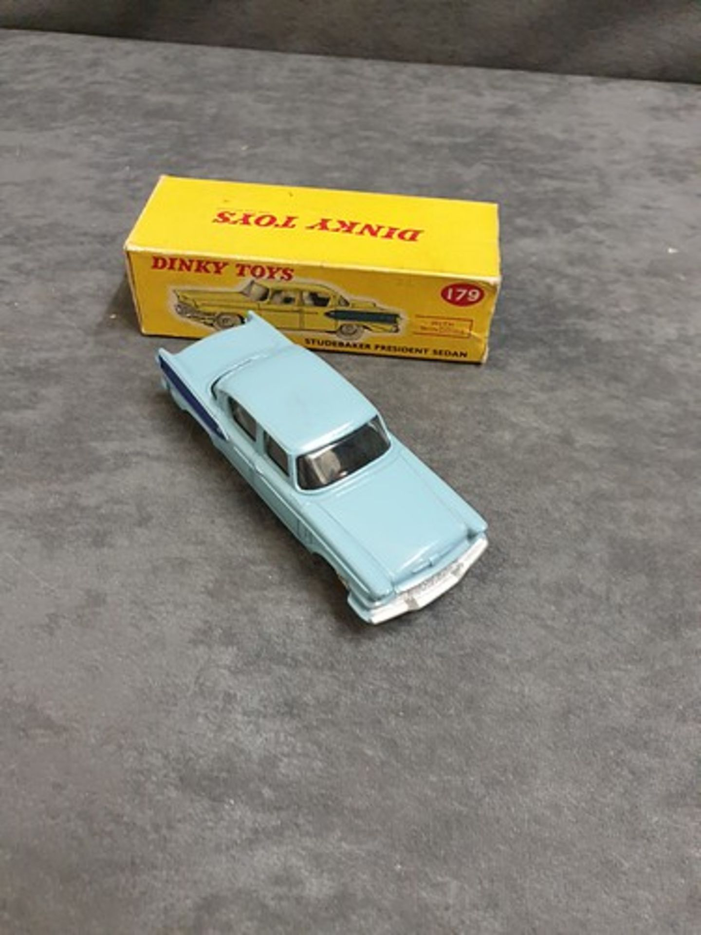 Dinky #179 Studebaker President Sedan In Two Tone Blue With White Wheels Nr Mint Model In Firm Box - Image 2 of 3