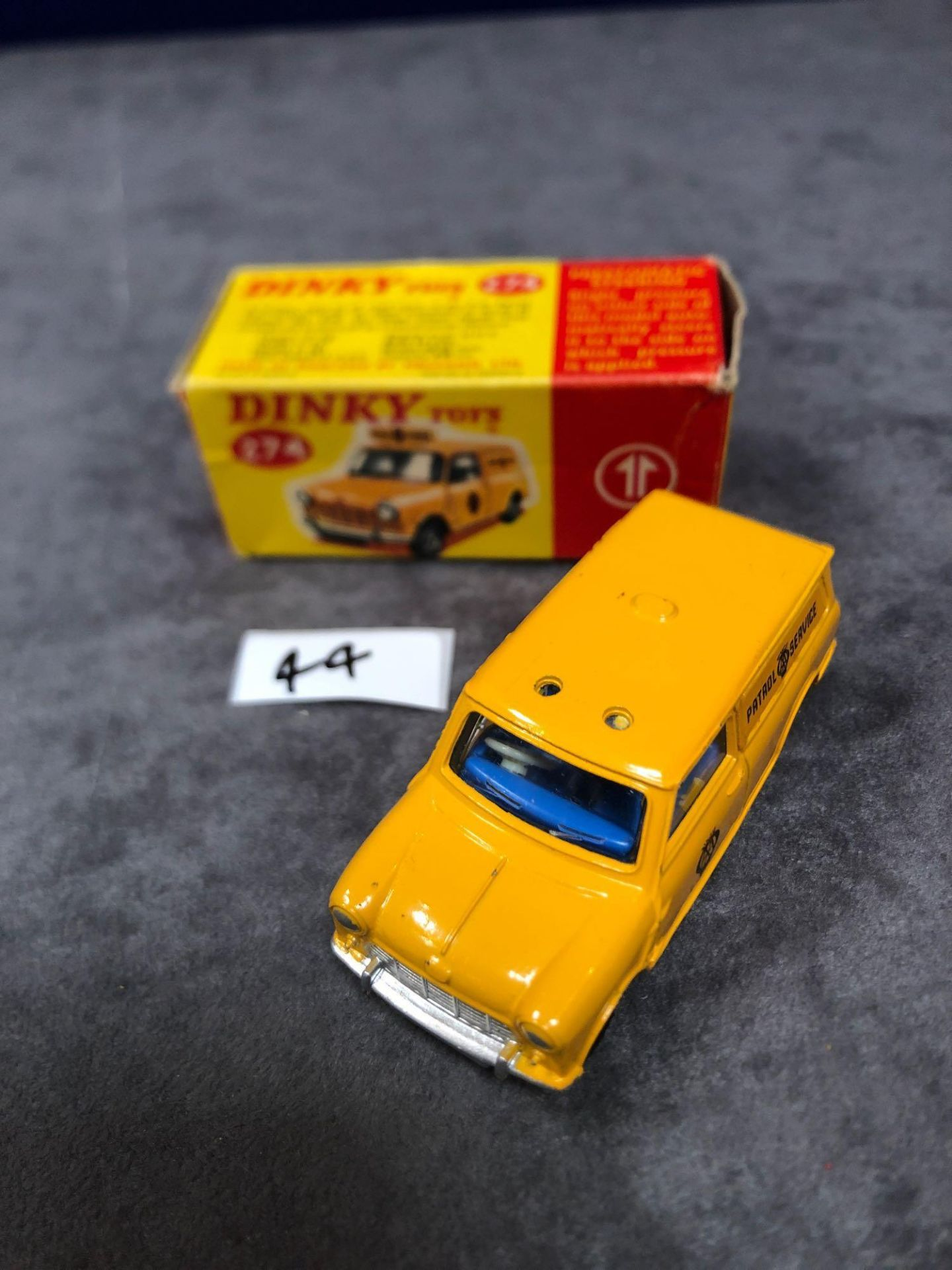 Dinky #274 AA Patrol Mini Van Yellow (AA Service) - Yellow Body And White Roof. AA Service To Van