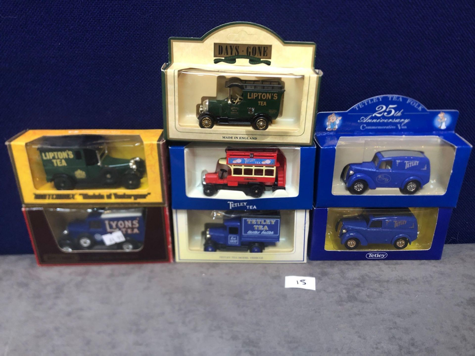 7x Diecast Vehicles Advertising Tea All In Individual Boxes