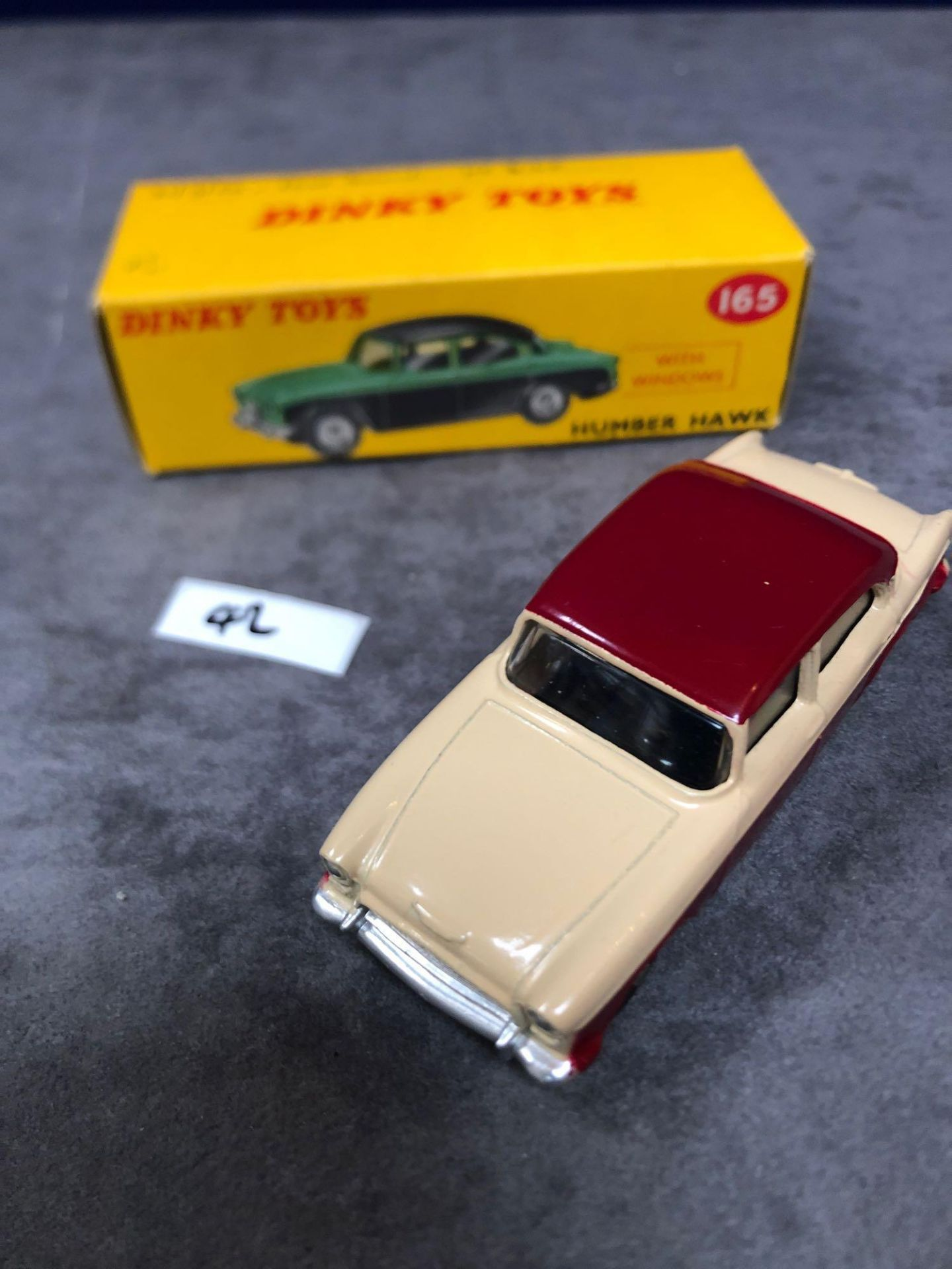 Dinky #165 Humber Hawk Maroon/Fawn - Spun Hubs With Box 1959-1963