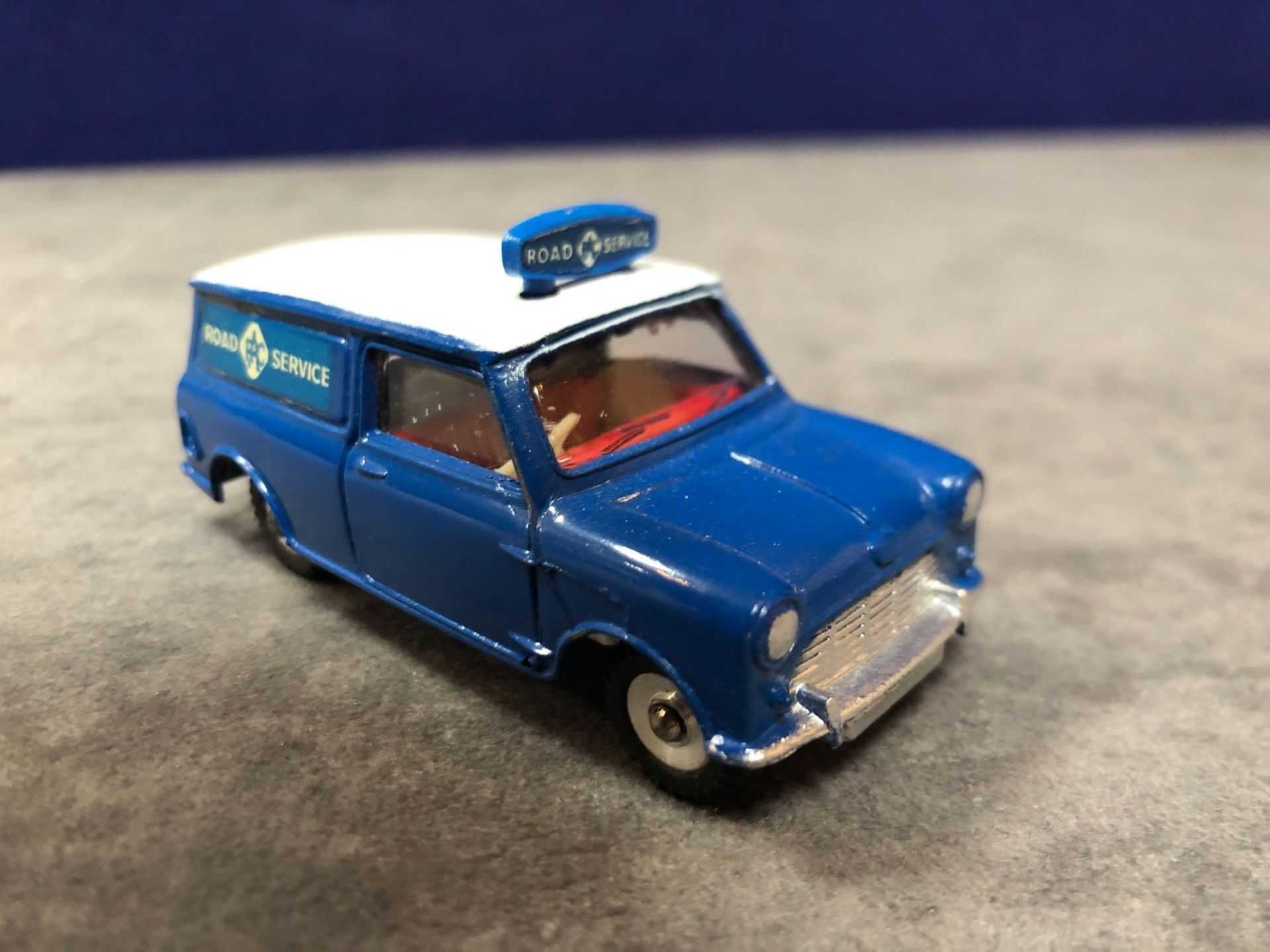 Dinky #273 RAC Patrol Mini Van Blue/White - Red Interior. Virtually Mint Mark On Roof In Excellent - Image 2 of 4