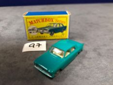 Matchbox Lesney Product #33b Ford Zephyr III In Green, White Interior And Grey Plastic Wheels Mint