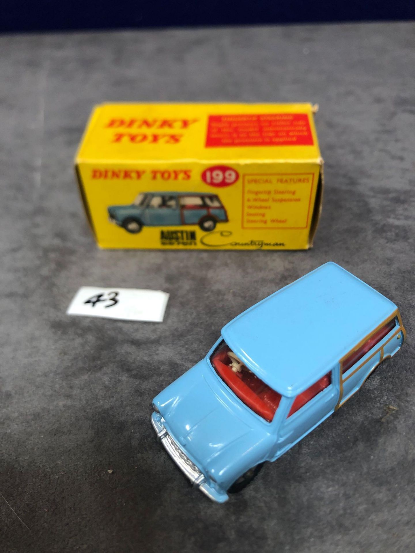 Dinky #199 Austin 7 Countryman - Pale Blue, Red Interior With Cream Steering Wheel, Chrome Hubs-