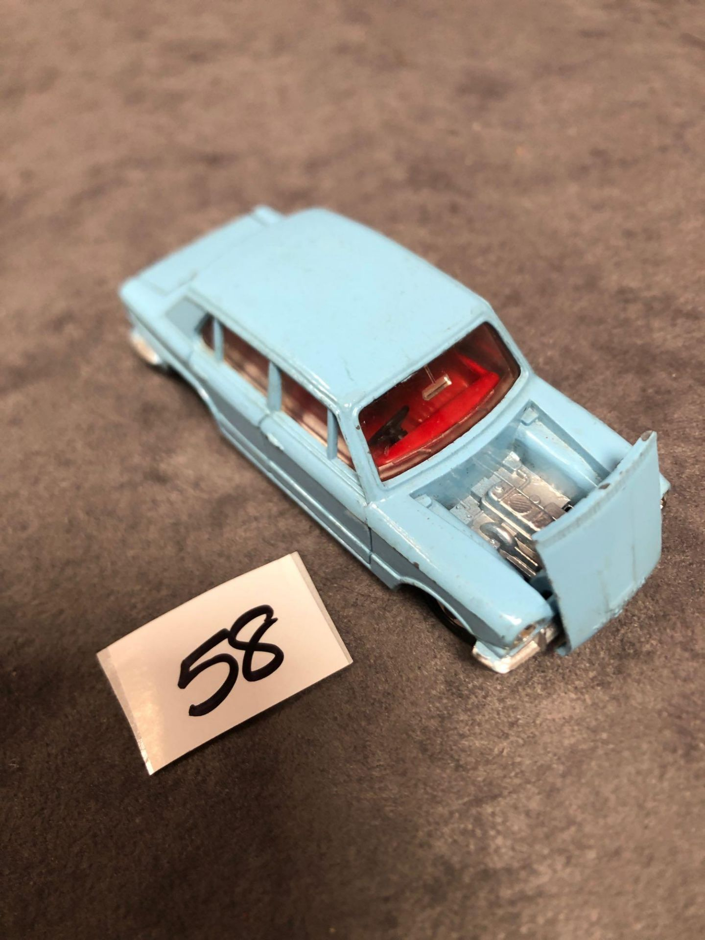 Dinky #162 Triumph 1300 Blue - Red Interior, Spun Hubs And Number Plates 1966 - 1969 Unboxed Very