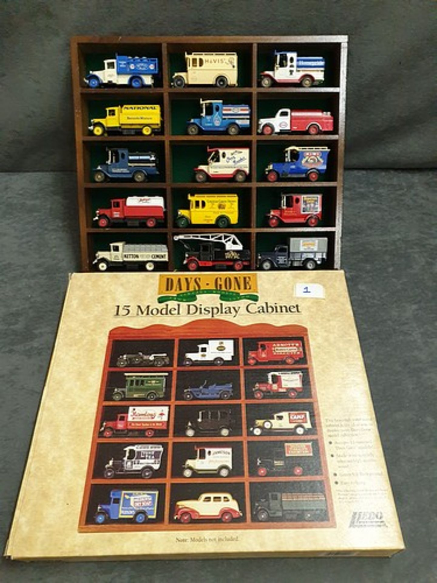 Days Gone Wooden Display Case With Box Including 15 Various Diecast Vehicles Advertising decals Esso - Image 3 of 3
