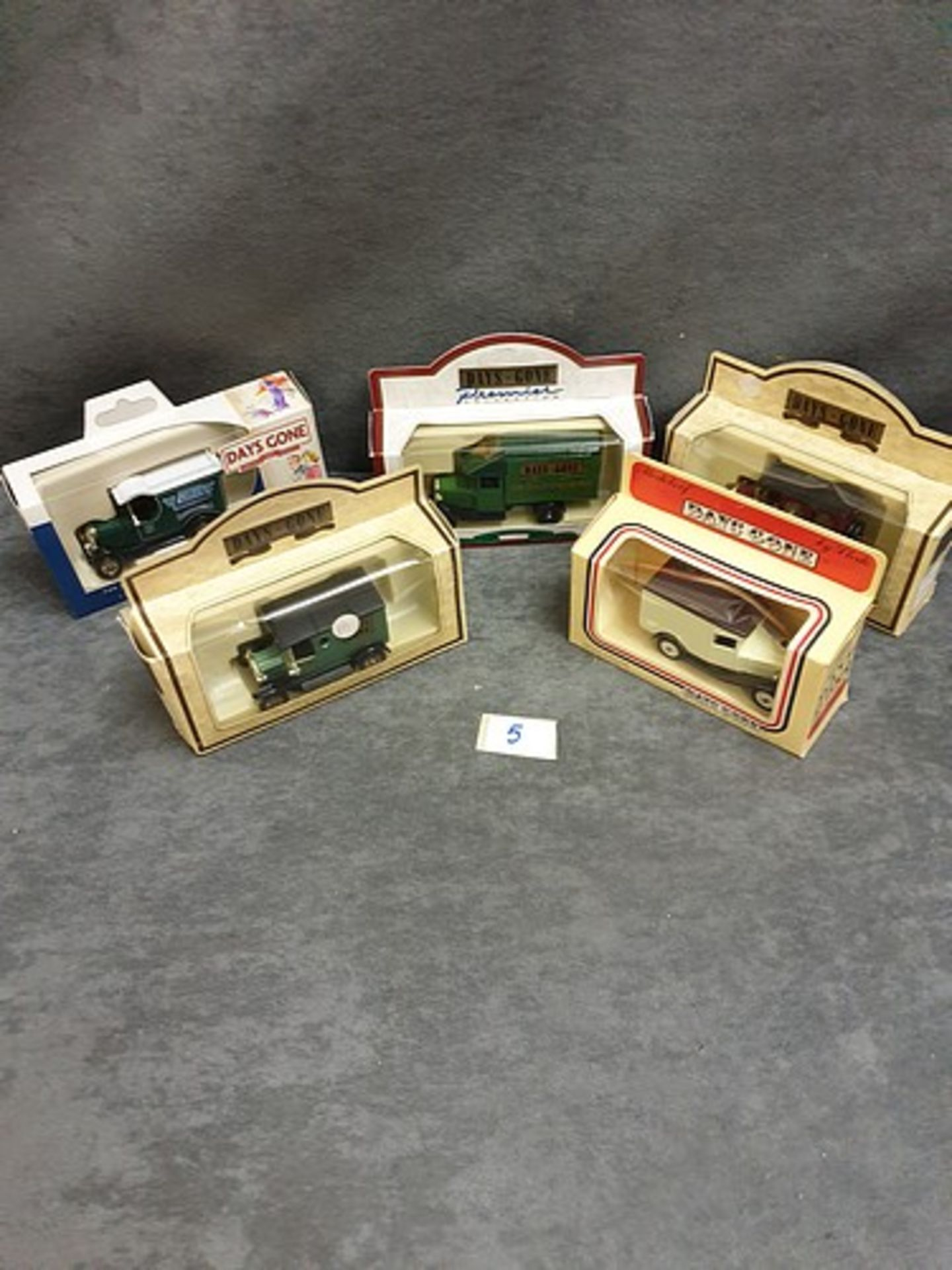 5x Days Gone Diecast Vehicles Individually Boxed Advertising Grand Hotel Days  Gone Lledo Plain.