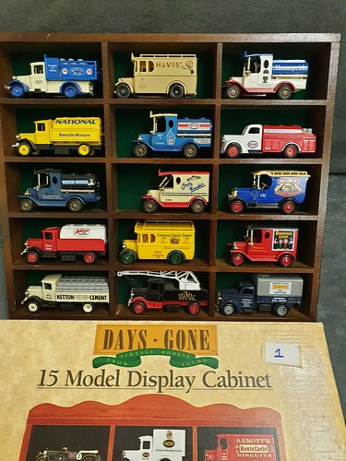 Days Gone Wooden Display Case With Box Including 15 Various Diecast Vehicles Advertising decals Esso - Image 2 of 3
