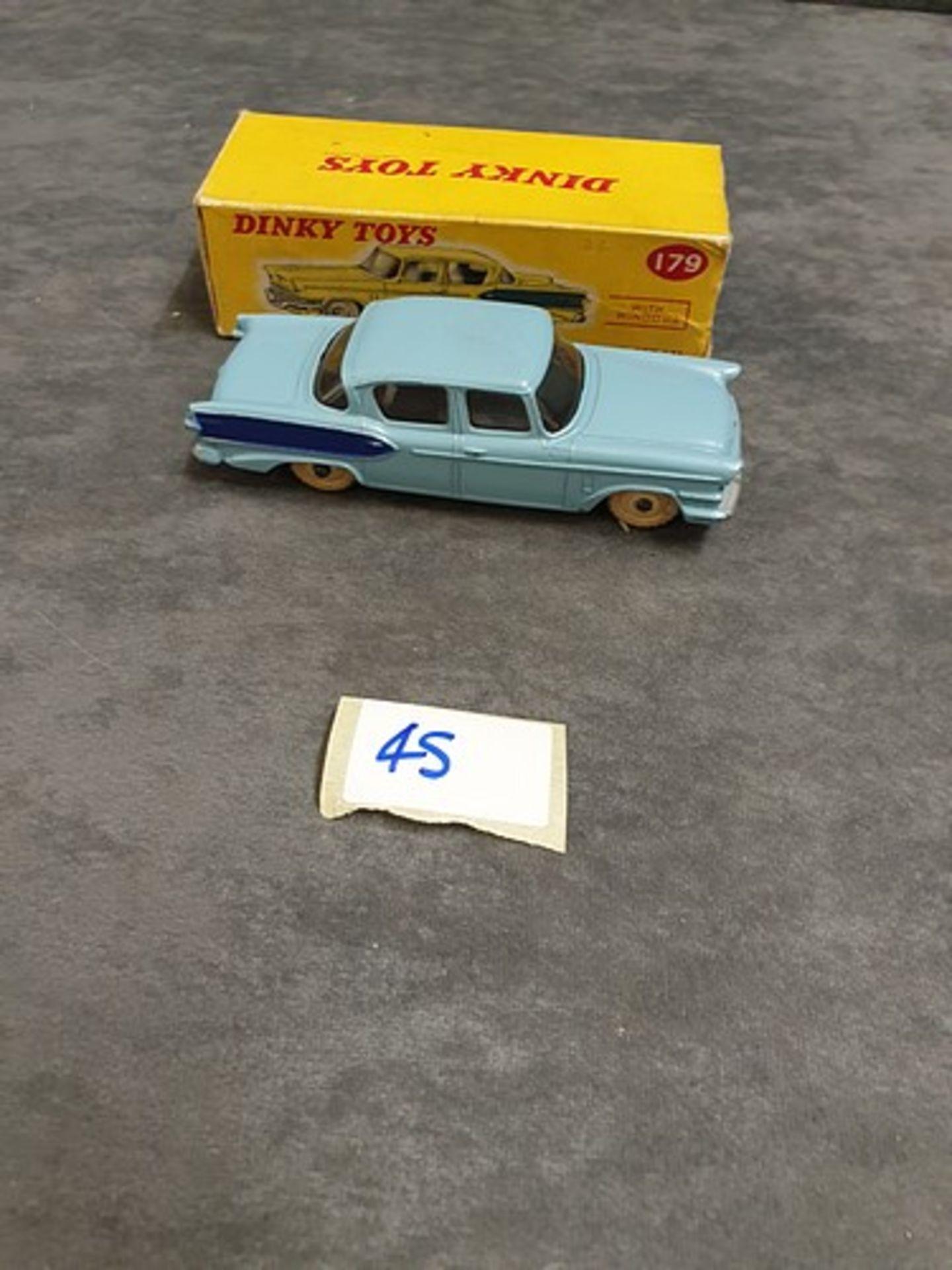 Dinky #179 Studebaker President Sedan In Two Tone Blue With White Wheels Nr Mint Model In Firm Box