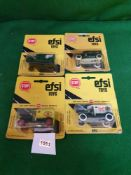 4x EFSI Toys (Holland) Diecast Scale Model Of T-Ford 1919 Comprising Of; #MT09, #MT5, #MT14 & #MT13.