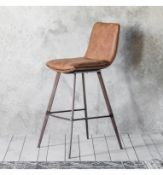 Palmer Stool 2 Pack A contemporary design with a rustic twist, this stylish vintage brown faux