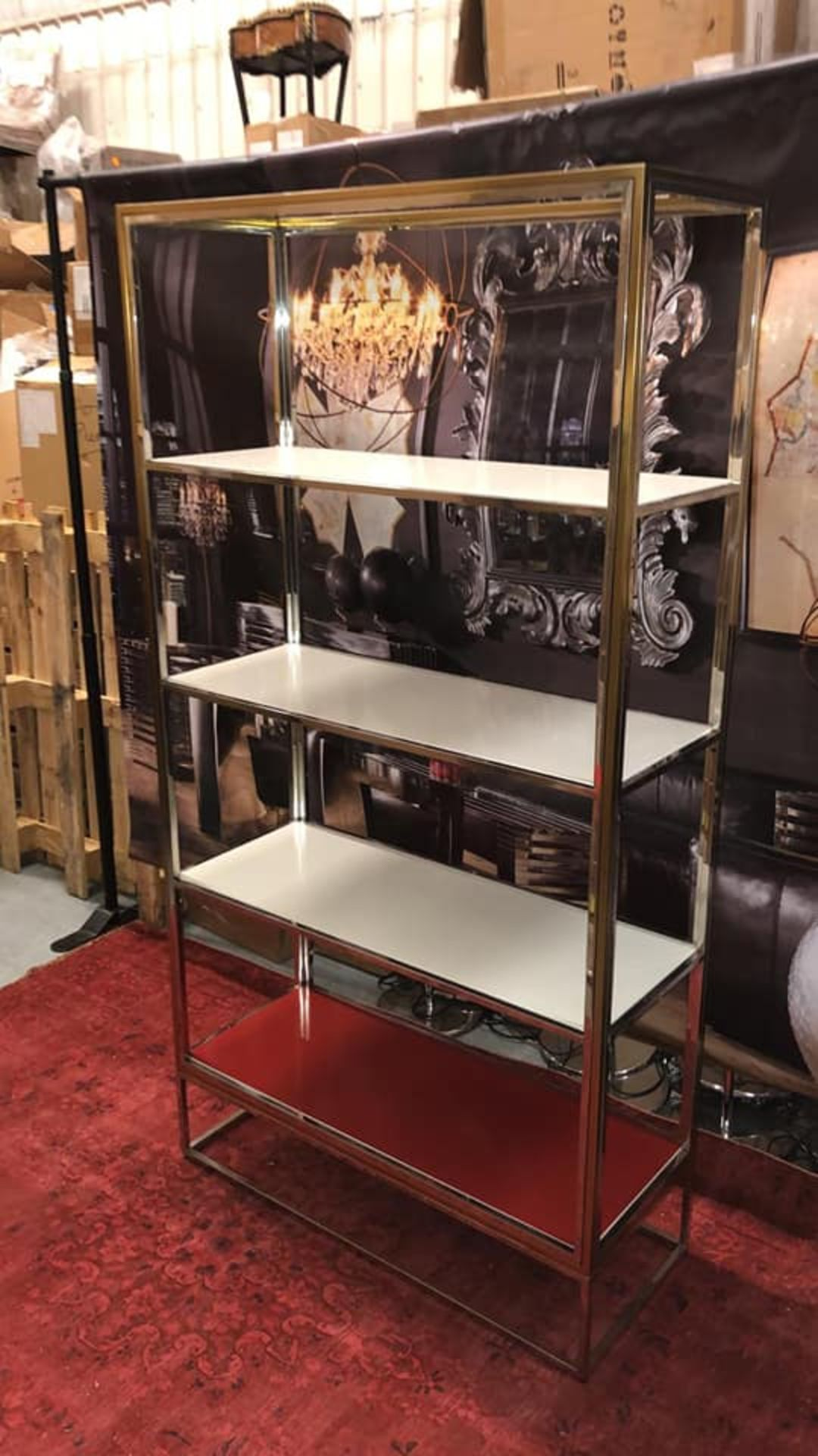 Boyd by Resource Decor Metal Bookcase Luxe designer bookcase with lacquered metal shelves, stainless