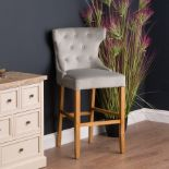 Barisa Grey Velvet Tufted High Bar Stool, at 115cm high, 64cm wide and 55cm deep this makes an ideal