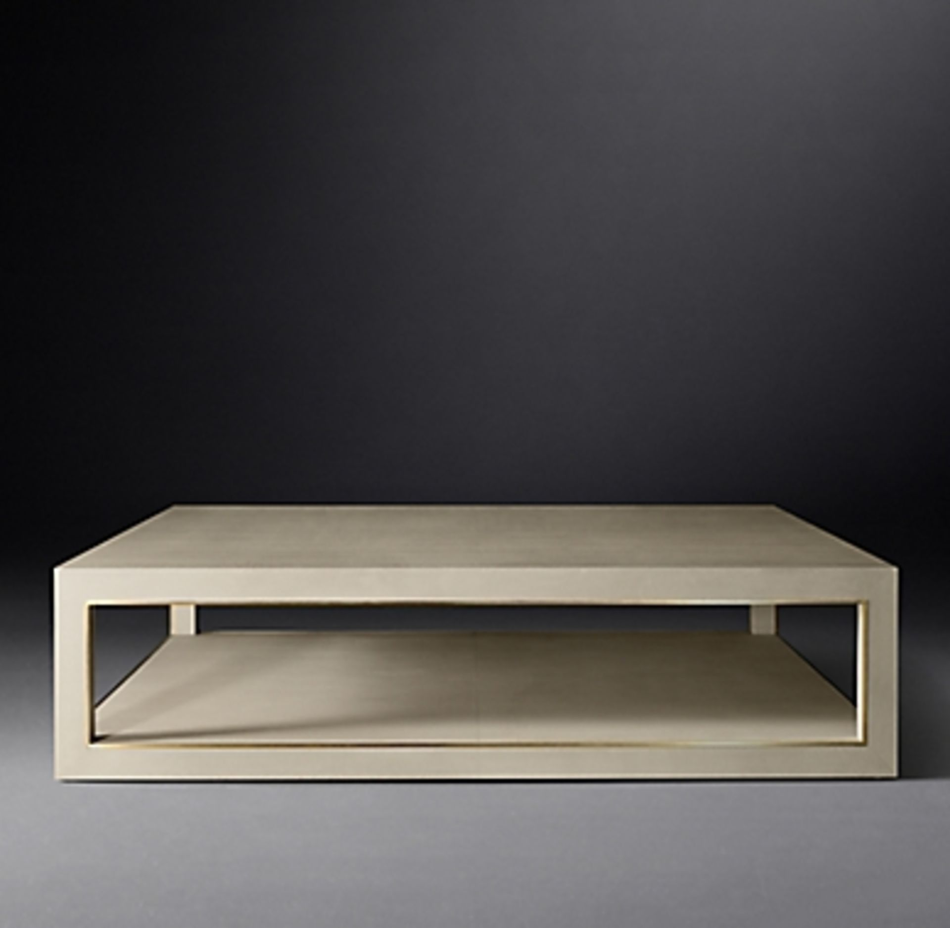 Cela Cream White 55 Shagreen Rectangular Coffee Table Crafted Of Shagreen Embossed Leather With
