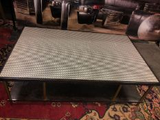 Herringbone Coffee Table Is Crafted From European Beach With A Dark Stained Structured Veneers And
