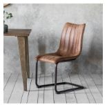 Edington Brown Chair (2pk) A Retro Classic Styled Dining Chair With Decorative Stitching Detail