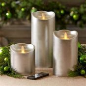 2 x Luxe Collection 3.5 x 9 Silver Flicker Flame LED Wax Candle This real wax battery operated