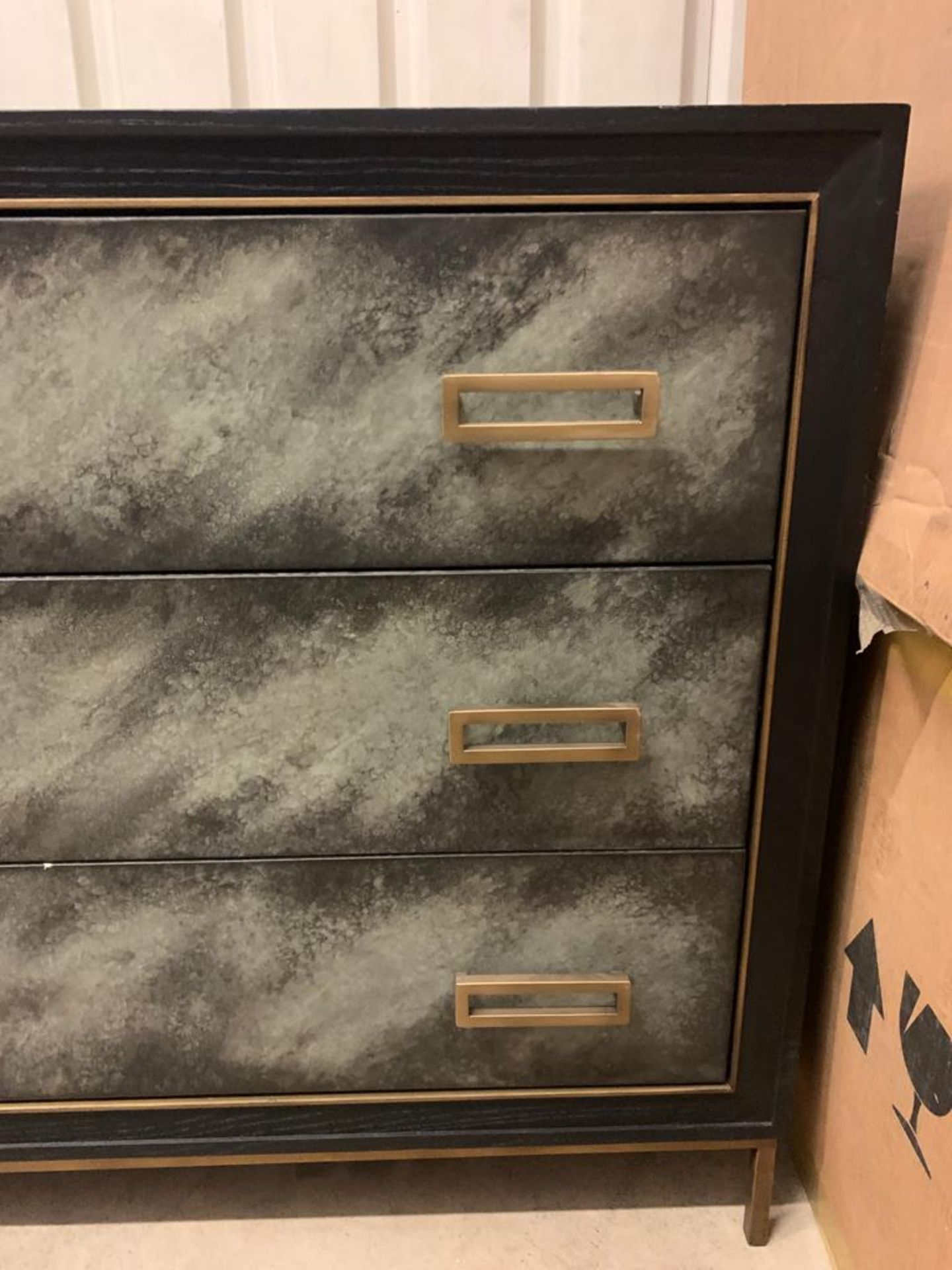 Levi 3 Drawer Chest Wrapped In A Faux Velum On Leather In A Charcoal Finish On Satin Brass - Image 2 of 4