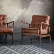 Humber Armchair Vintage - Brown Leather Sit back in style on this Humber Vintage Brown Armchair.