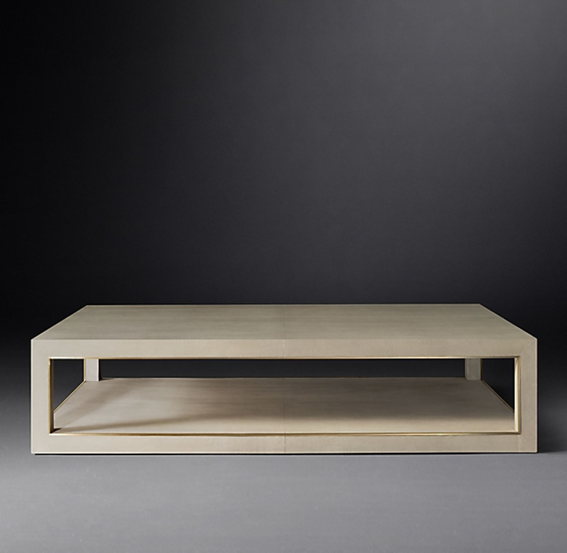 Cela white Shagreen 67 Rectangular Coffee Table Crafted Of Shagreen Embossed Leather With The