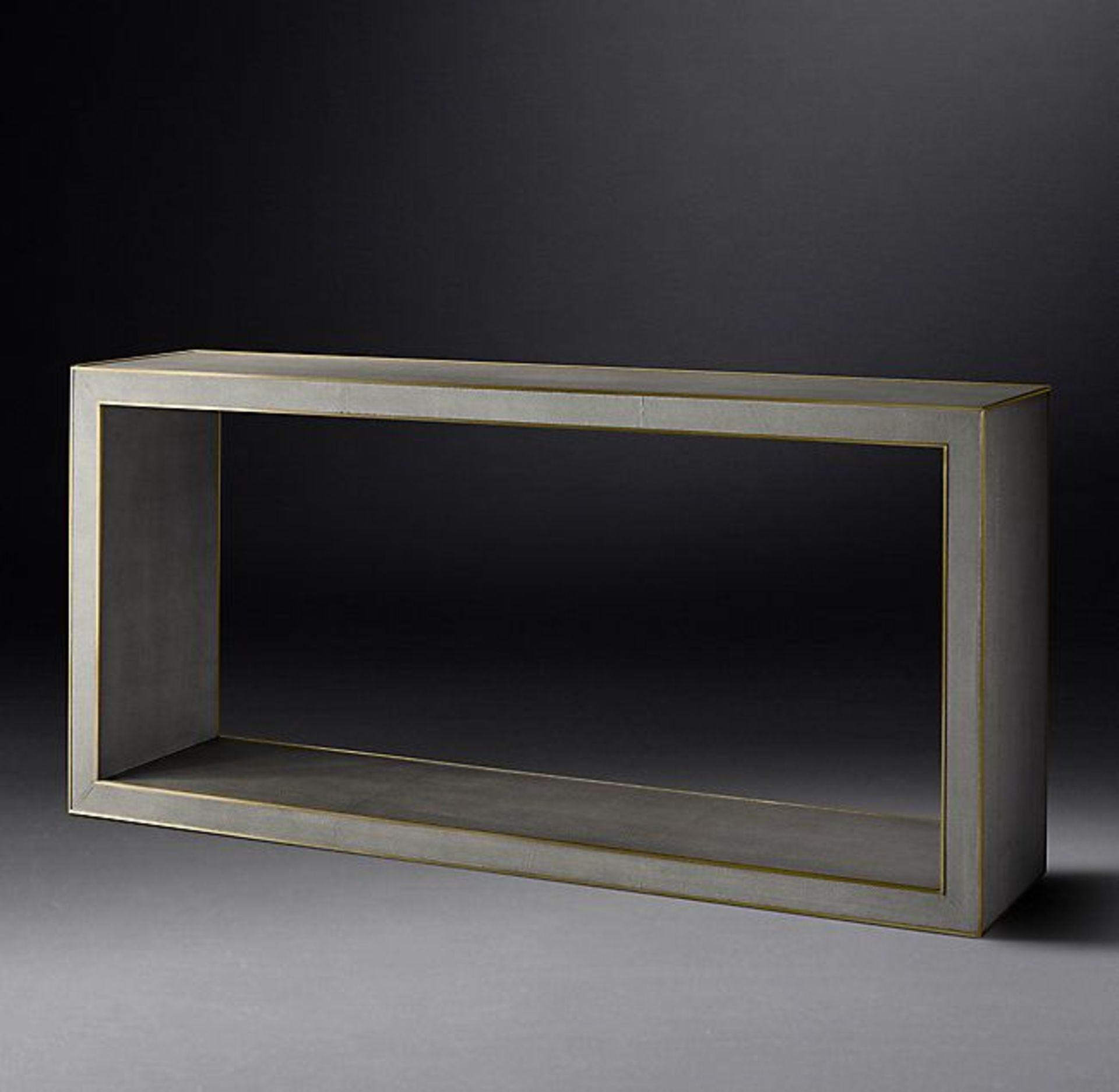 Cela Grey Shagreen 67 Rectangular Console Table Crafted Of Shagreen Embossed Leather With The