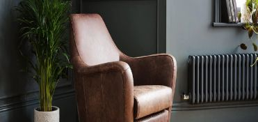 Laura Ashley Saltney Vintage Leather Chair Tobacco Brown Create striking and modern interiors