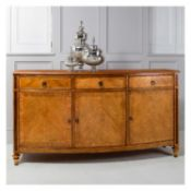Spire Dining Large Sideboard Blonde European walnut with intricate inlays, antiqued hand wax