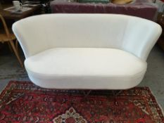 Constance Silk Ivory White two seater sofa classic contemporary design with clean, sweeping lines
