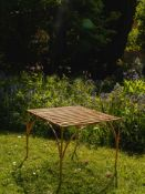 Copper Garden Table With A Bold Copper Finish Perfectly Paired With Benches Or Garden Chairs This
