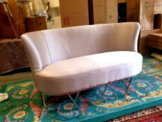 Constance Silk Shadow Grey two seater sofa classic contemporary design with clean, sweeping lines