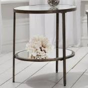Hudson Side Table Striking round companion table in an aged bronze finish 50 x 50 x 60cm (A6/