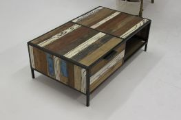 Bluebone Titanic Evolve Coffee Table With 2 Drawers Reclaimed Timbers Iron And White Faux Timber
