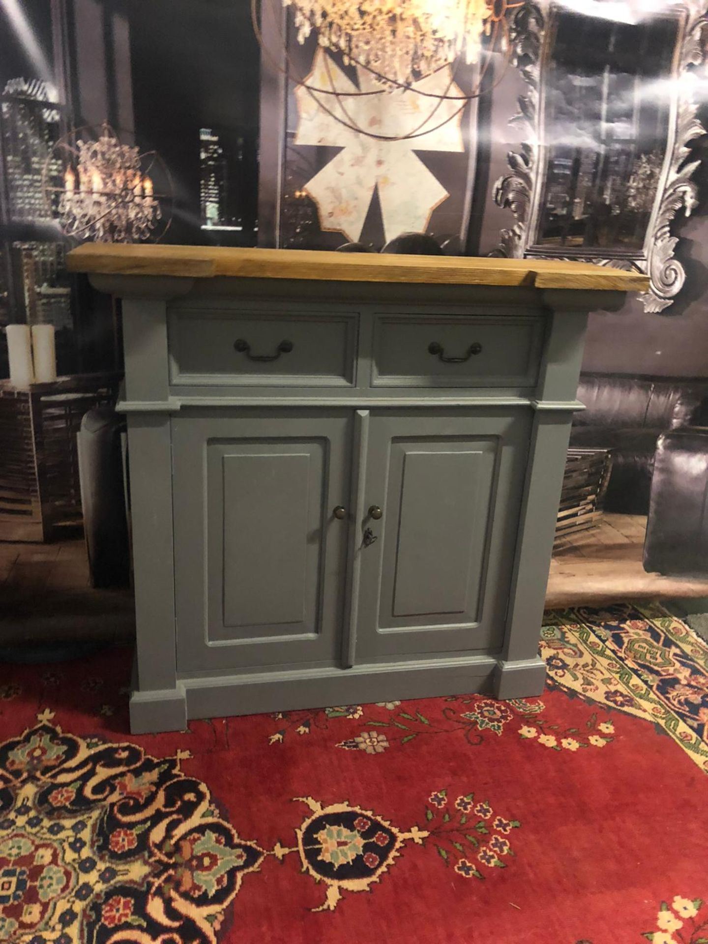 Storm Oak and Grey Painted 2 Door 2 Drawer Small Sideboard Organize your everyday bits and pieces - Image 3 of 5
