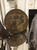 Bronzed Resin Sculpture Antique Coin Medallion B Objets d'Art Decorative Accessories 40cm Diameter