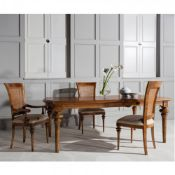 Spire Dining Large Extending Table Blonde European walnut with intricate inlays, antiqued hand wax