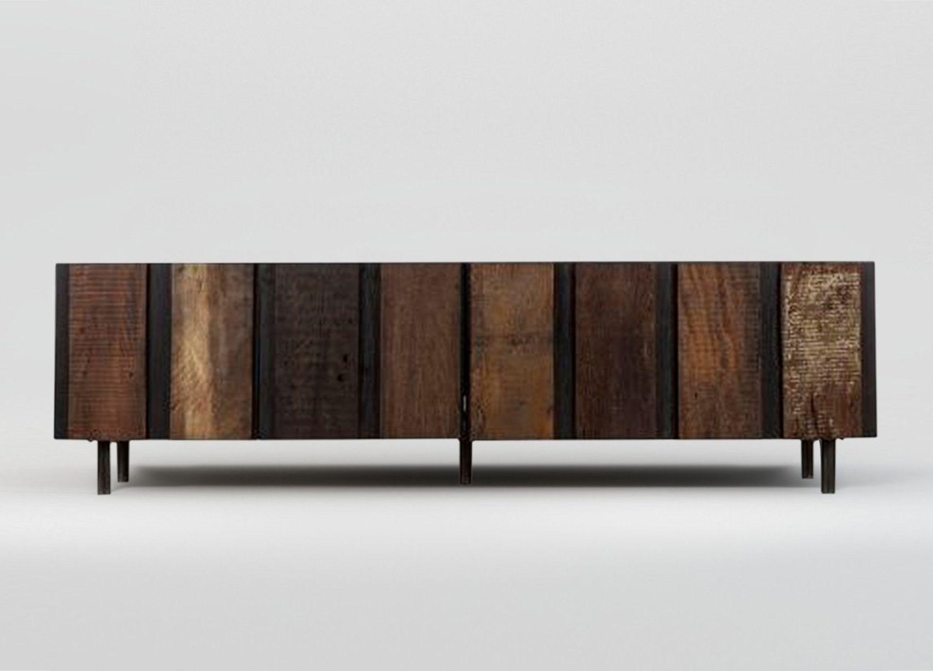 Thomas Bina Santos 4 Door Media Console Credenza Finished In Brazilian Peroba Wood and Black Oak