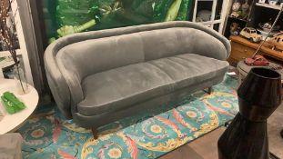 Titan Grey Velvet Luxury Contemporary sofa with mid-century inspiration, perfect for adding luxury