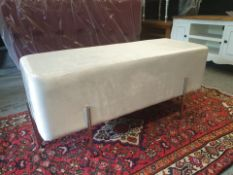 Constance ivory white sumptuous ivory white upholstered bench on stainless steel legs this