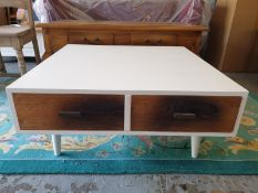 Vanilla Retro Square Coffee Table Walnut Veneer Front Panel And Gloss White 2 Drawers The Clean