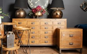 The Draftsman Collection Two Drawer Bedside The combination of raw and organic textures of a solid