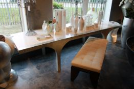 Cravt Original ARC Arc Large Dining Table The Eggshell Is Inlaid Into One Of Nature's Most Durable