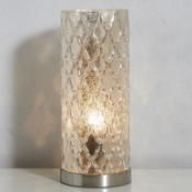 Genevieve Mercury Uplight Table Lamp Finished in a stunning pattern and silver colouring ensures