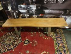 Live Edge Dining Bench Natural Acacia Wood with a contemporary metal baseA modern twist on a