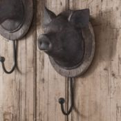 Piggie Farm Head Hook W125 x D110 x H245mm (05971) Unique farmyard wall hooks in an aged bronze