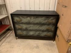 Levi 3 Drawer Chest Wrapped In A Faux Velum On Leather In A Charcoal Finish On Satin Brass